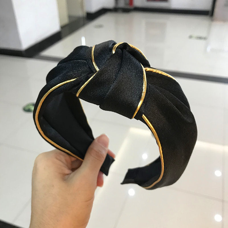 Solid Color Hair Bands With Gold line