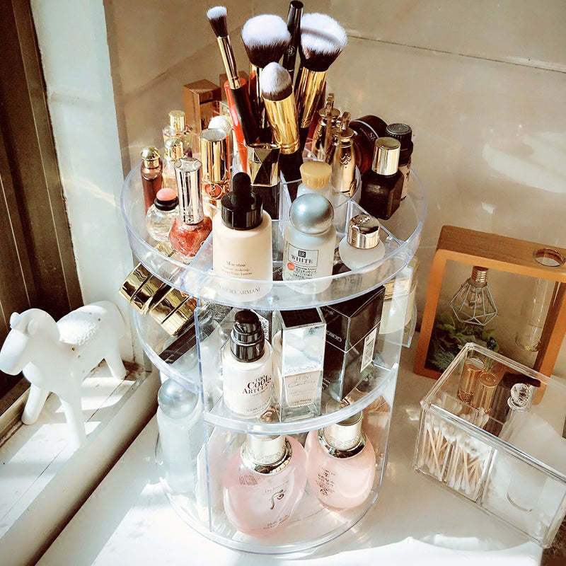 Round Cosmetic 360 Rotating Makeup Organizer