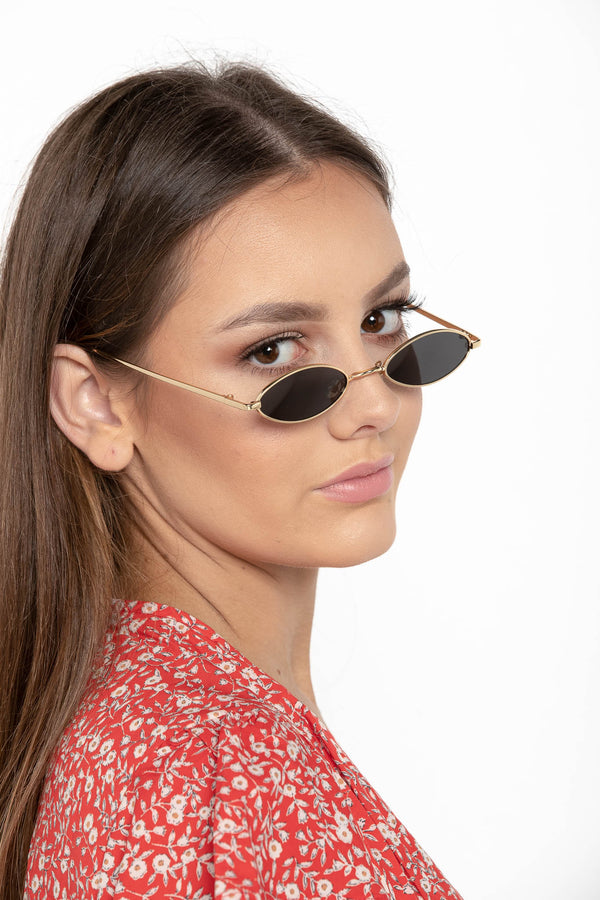SECRET STARDUST RETRO OVAL SUNGLASSES GOLD - CHICKABERRY BOUTIQUE Australia Womens