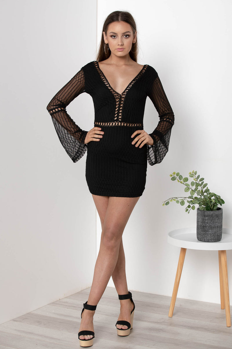 SORAYA LACE BODYCON DRESS BLACK - CHICKABERRY BOUTIQUE Australia Womens