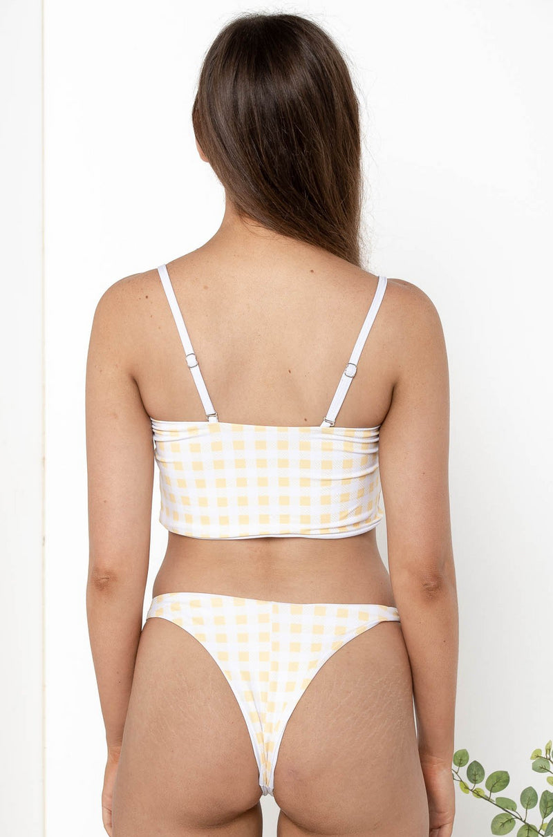 GINGHAM BANDEAU BIKINI TOP YELLOW - CHICKABERRY BOUTIQUE Australia Womens