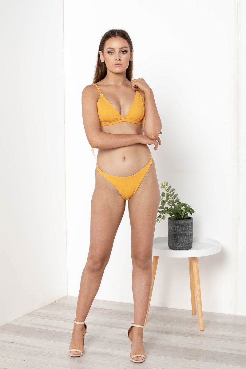 KENDRA RIBBED BIKINI BOTTOM YELLOW - CHICKABERRY BOUTIQUE Australia Womens