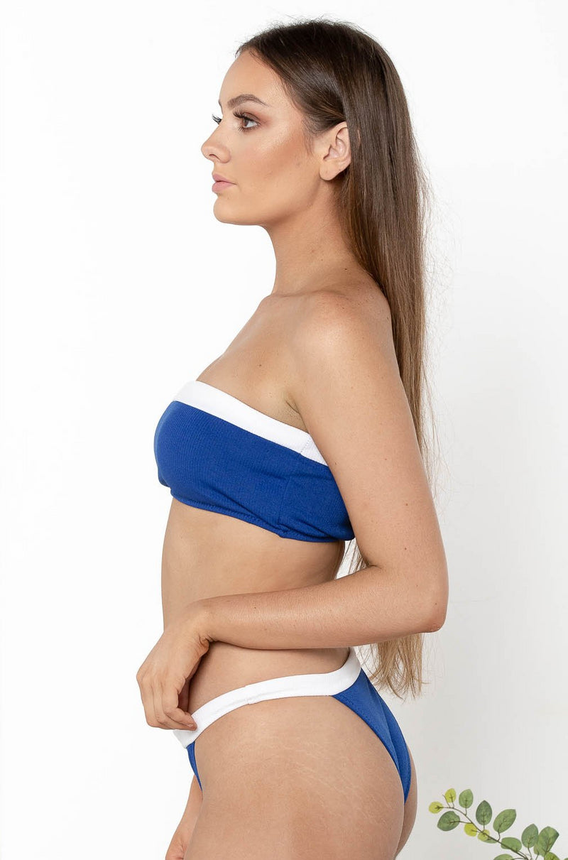 CALI SAILOR BANDEAU BIKINI TOP BLUE - CHICKABERRY BOUTIQUE Australia Womens