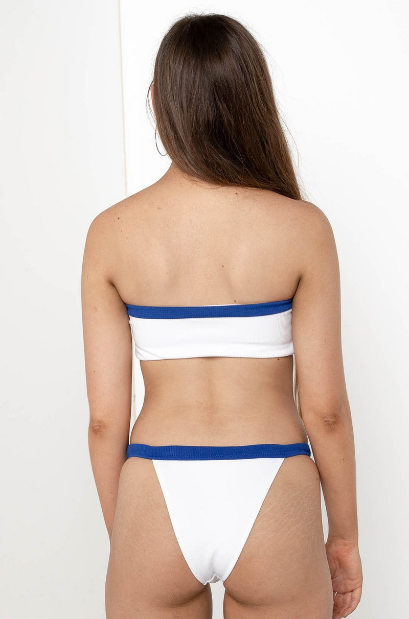 CALI SAILOR BANDEAU BIKINI TOP WHITE - Chickaberry Boutique Australia Womens