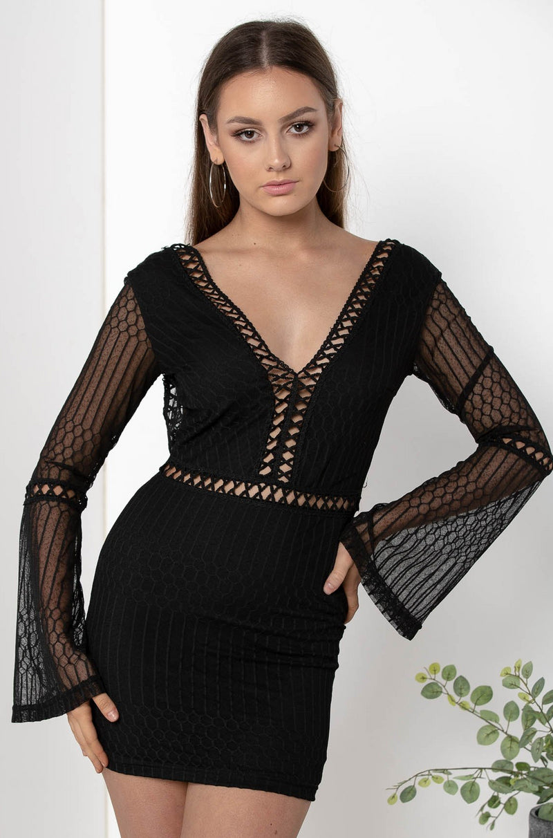 AU 8 SORAYA LACE BODYCON DRESS BLACK - CHICKABERRY BOUTIQUE Australia Womens