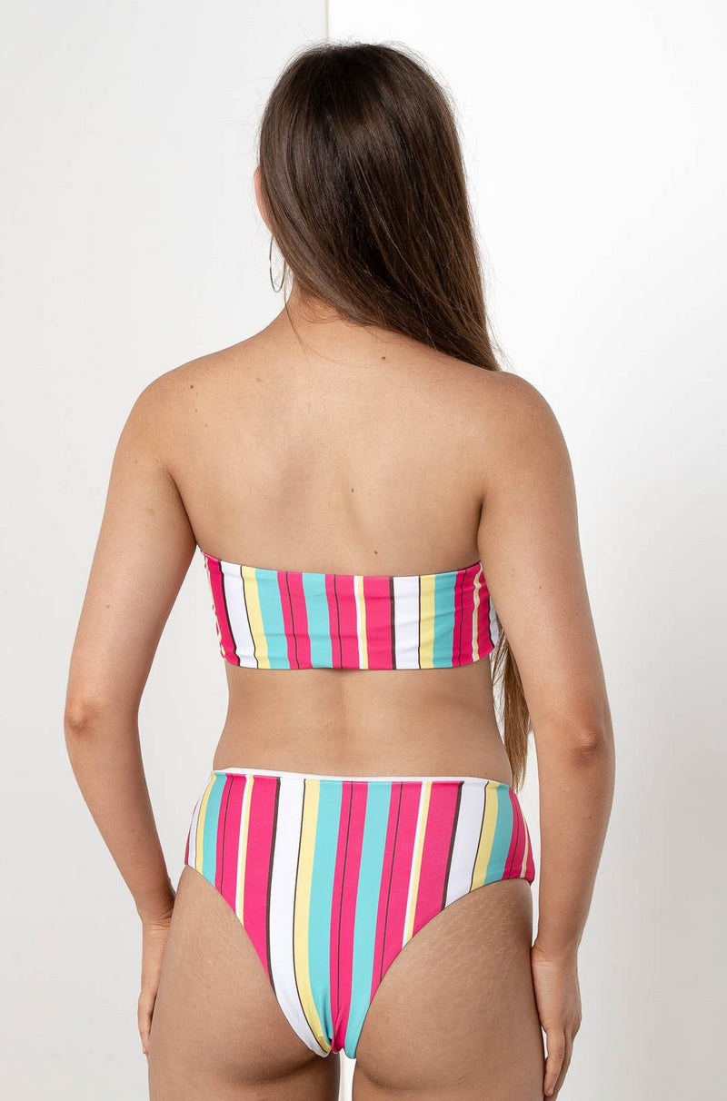 DIVINA STRIPED HIGH WAIST BIKINI BOTTOM - CHICKABERRY BOUTIQUE Australia Womens