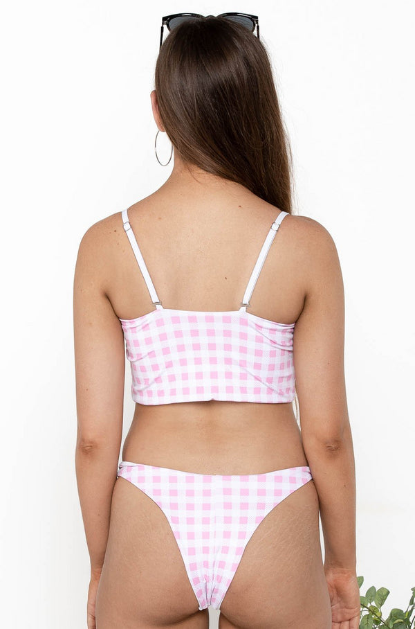GINGHAM BIKINI TOP PINK - CHICKABERRY BOUTIQUE Australia Womens