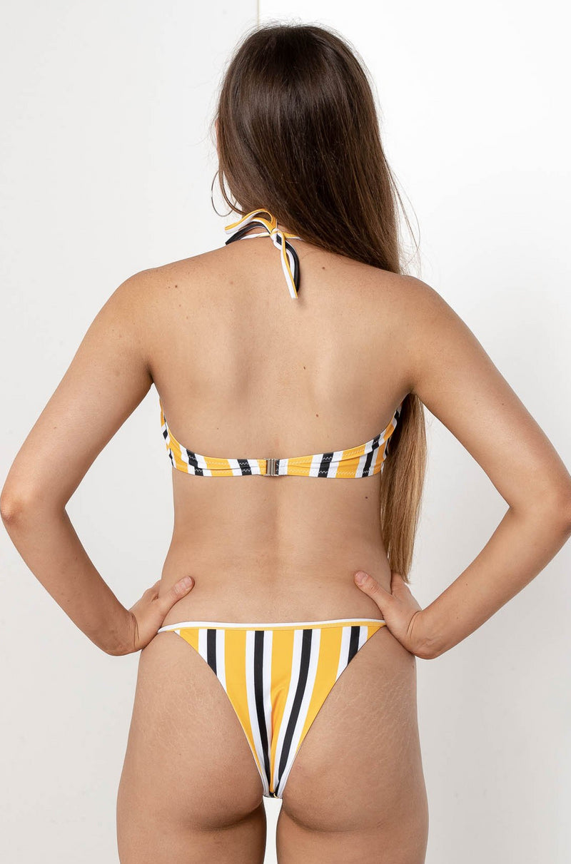 AUDREY STRIPE BIKINI TOP YELLOW - CHICKABERRY BOUTIQUE Australia Womens