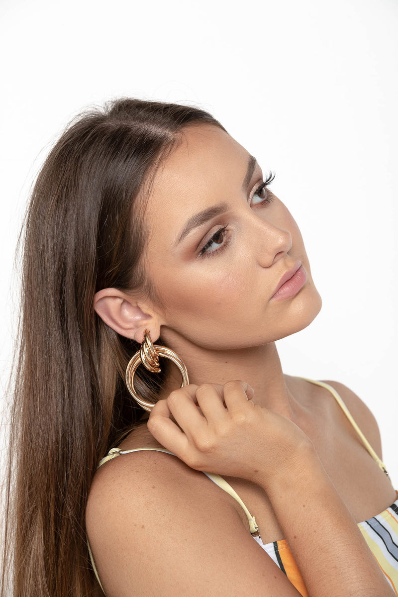 PRETTY LIFE HOOP STUD EARRINGS GOLD - CHICKABERRY BOUTIQUE Australia Womens