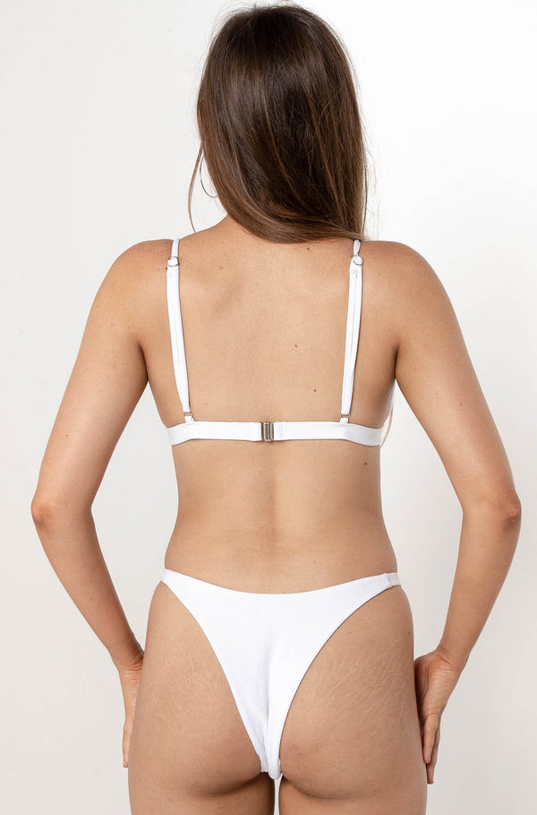 KENDRA RIBBED BIKINI BOTTOM WHITE - CHICKABERRY BOUTIQUE Australia Womens
