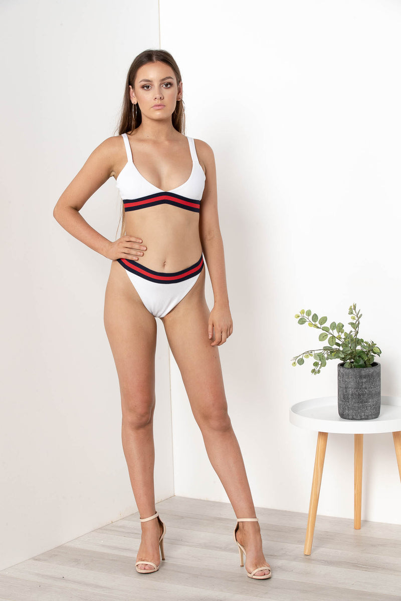 NICOLETTE HIGH CUT BIKINI BOTTOM WHITE - CHICKABERRY BOUTIQUE Australia Womens