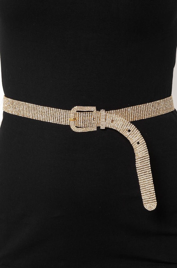 CRYSTAL HANDMADE RHINESTONE BELT GOLD - CHICKABERRY BOUTIQUE Australia Womens