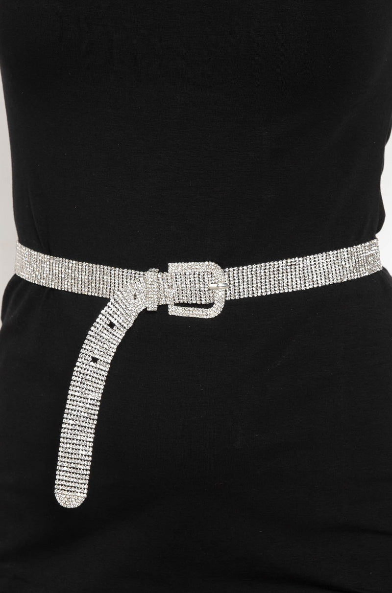 CRYSTAL HANDMADE RHINESTONE BELT SILVER - CHICKABERRY BOUTIQUE Australia Womens