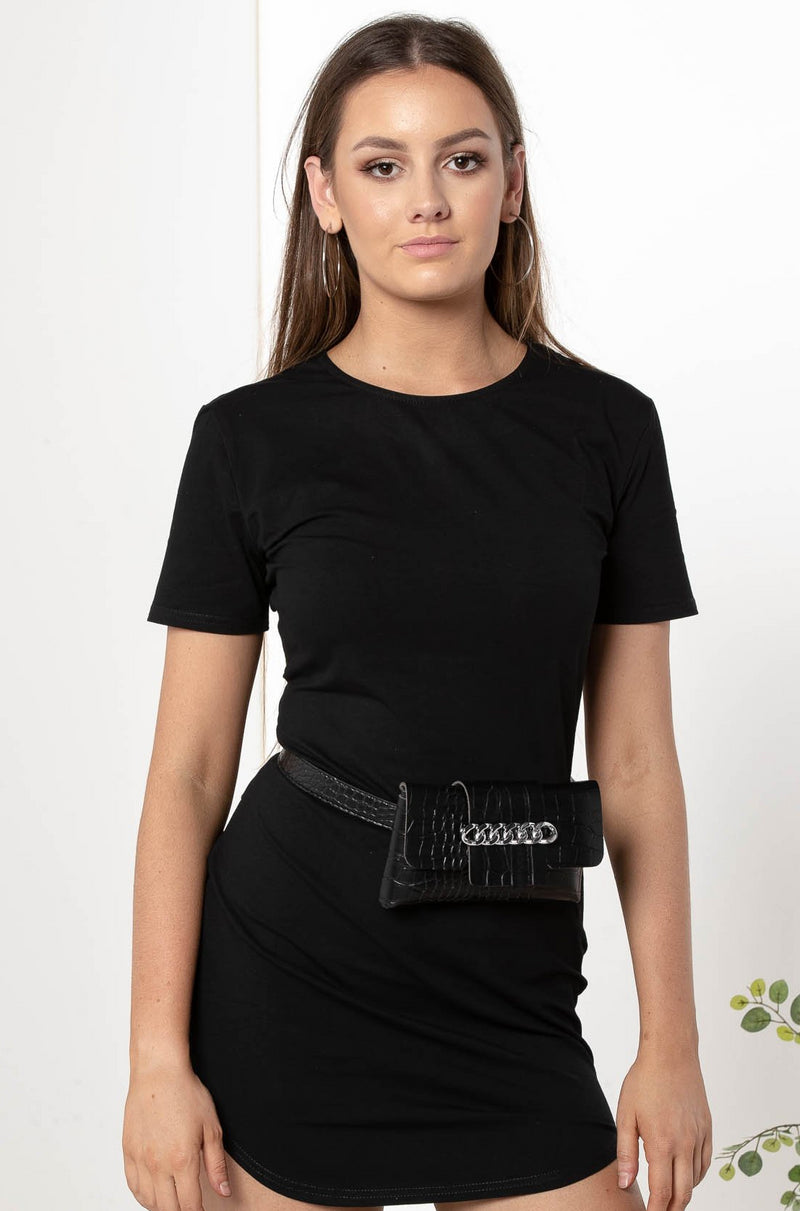 CECILIA LEATHER BELT BAG BLACK - CHICKABERRY BOUTIQUE Australia Womens