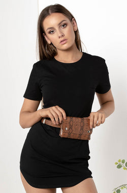 MEDUSA SNAKESKIN BELT BAG BROWN - CHICKABERRY BOUTIQUE Australia Womens