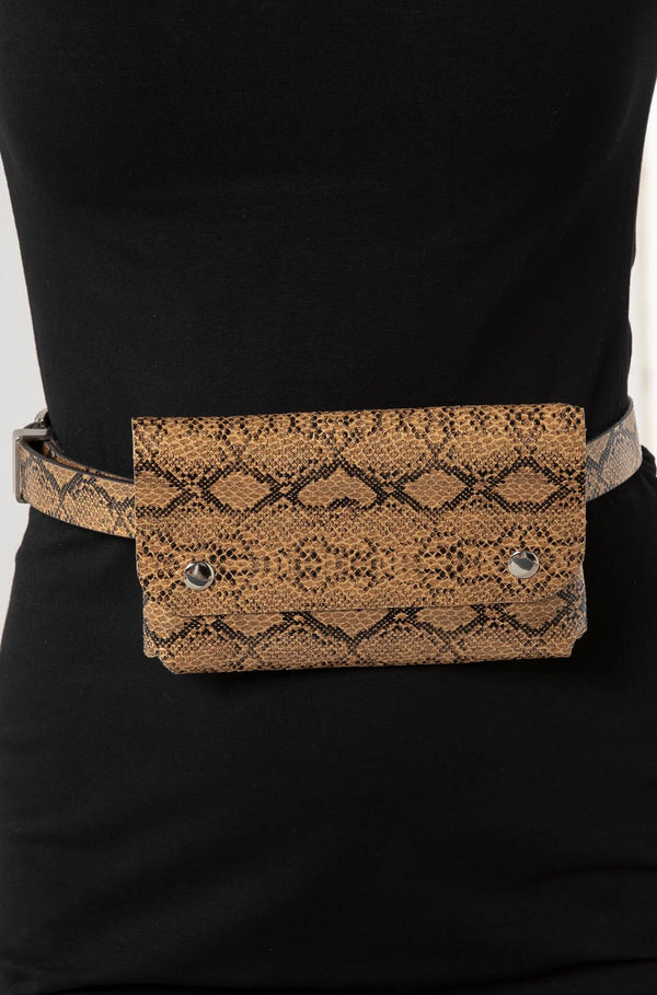 MEDUSA SNAKESKIN BELT BAG TAN - CHICKABERRY BOUTIQUE Australia Womens