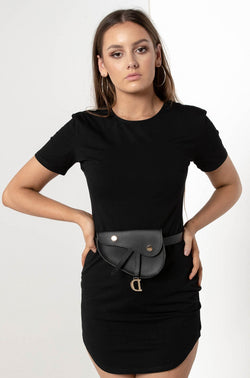 DIONE LEATHER BELT BAG BLACK - CHICKABERRY BOUTIQUE Australia Womens