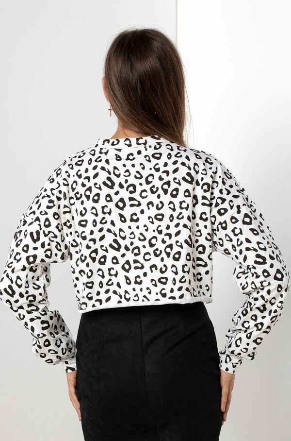 ASSUNTA SNOW LEOPARD CROP TOP - CHICKABERRY BOUTIQUE Australia Womens