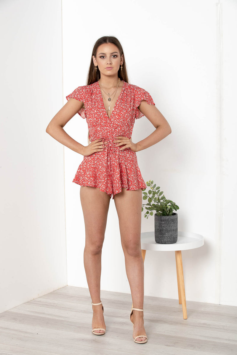 MIRANDA RUFFLED FLORAL PLAYSUIT - CHICKABERRY BOUTIQUE Australia Womens