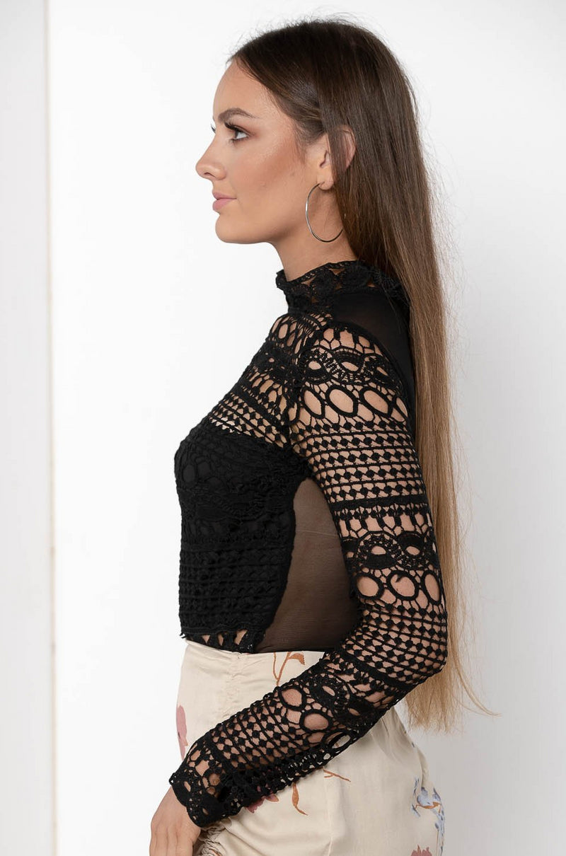 MYSTIQUE FULL SLEEVE SEE THROUGH BODYSUIT - CHICKABERRY BOUTIQUE Australia Womens