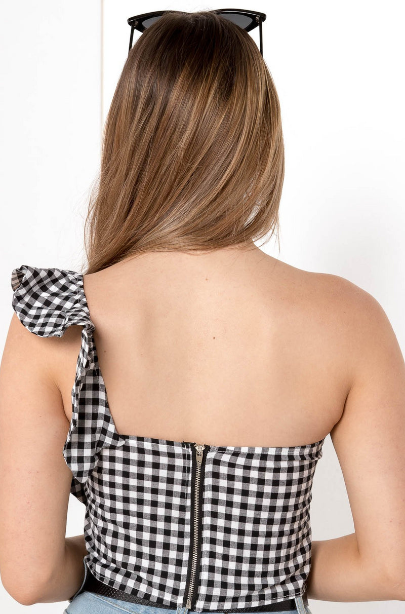 GINGHAM DAY CROP TOP BLACK - CHICKABERRY BOUTIQUE Australia Womens