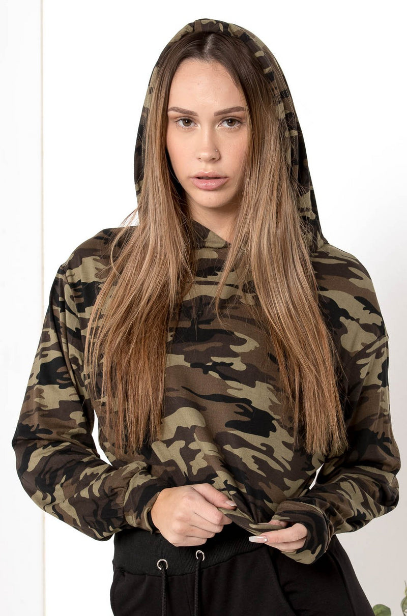AU 8 NEW RECRUIT CAMO CROPPED HOODIE - CHICKABERRY BOUTIQUE Australia Womens