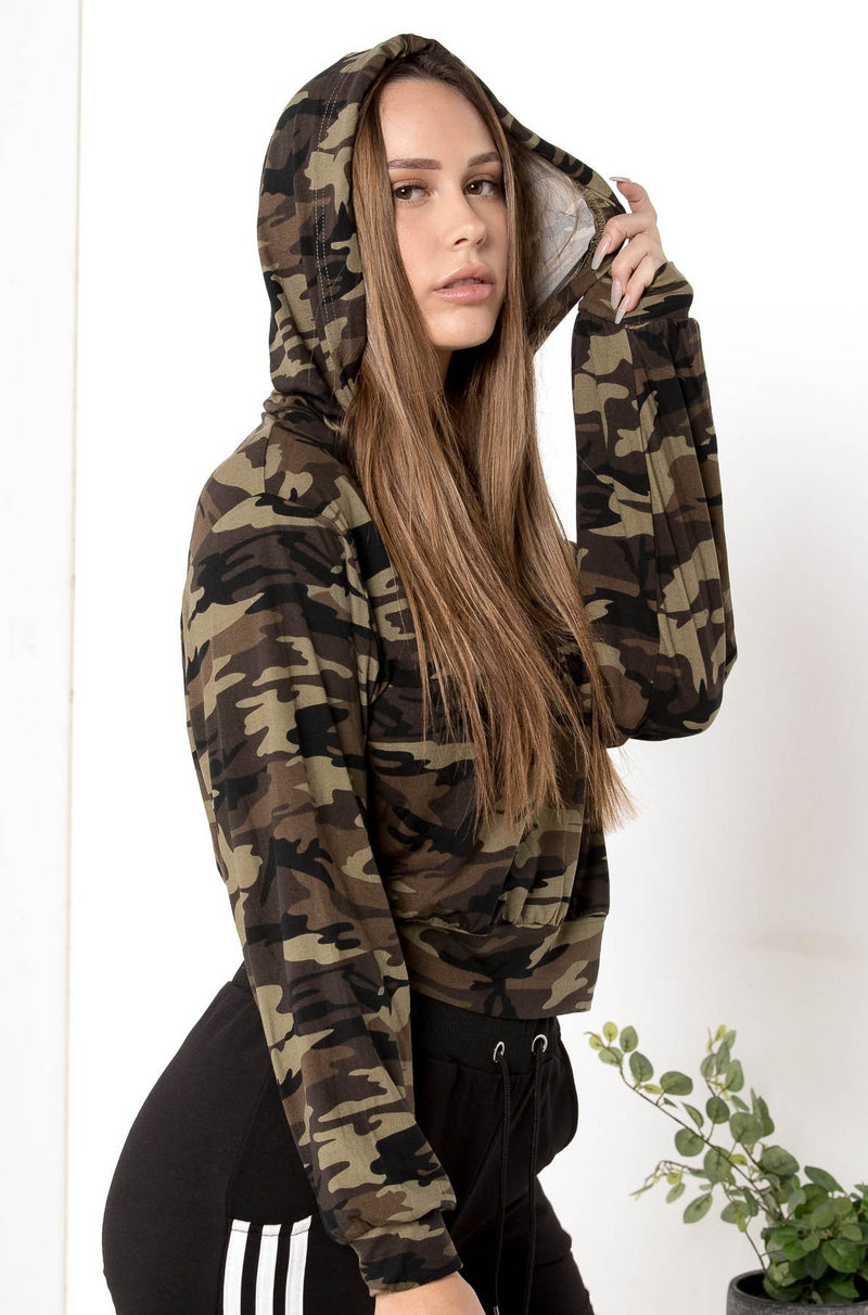 NEW RECRUIT CAMO CROPPED HOODIE - CHICKABERRY BOUTIQUE Australia Womens