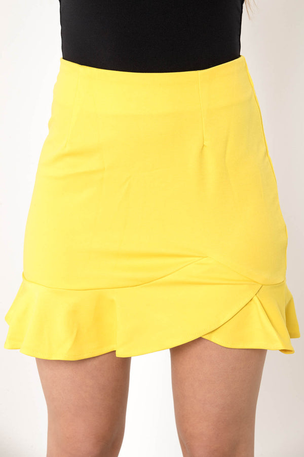 CANCELED PLANS MINI SKIRT YELLOW - CHICKABERRY BOUTIQUE Australia Womens