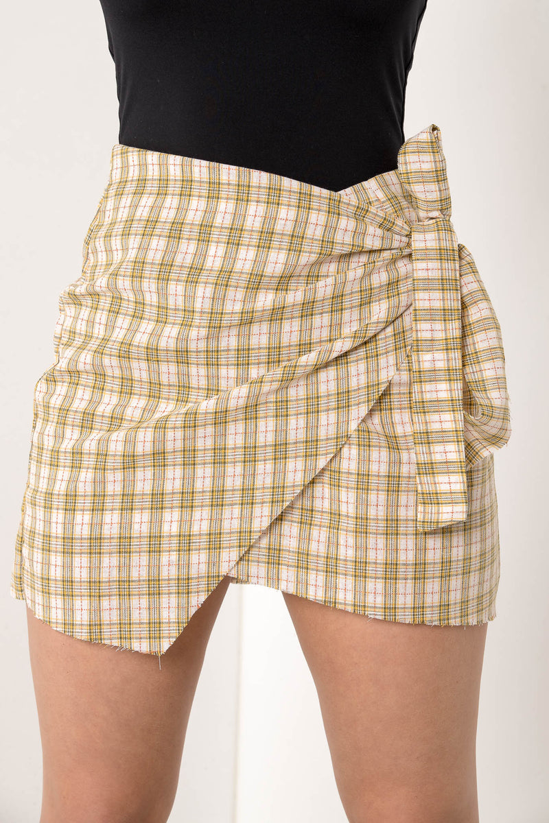 SOLENN CHECKERED WRAP SKIRT - CHICKABERRY BOUTIQUE Australia Womens