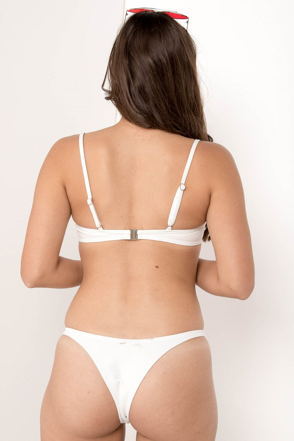 FORGOTTEN VENDETTA RIBBED BIKINI BOTTOM WHITE - CHICKABERRY BOUTIQUE Australia Womens