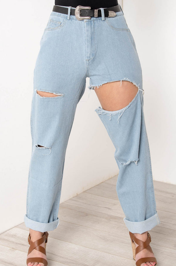 DISTRESS OPEN KNEE RIPPED JEANS - CHICKABERRY BOUTIQUE Australia Womens