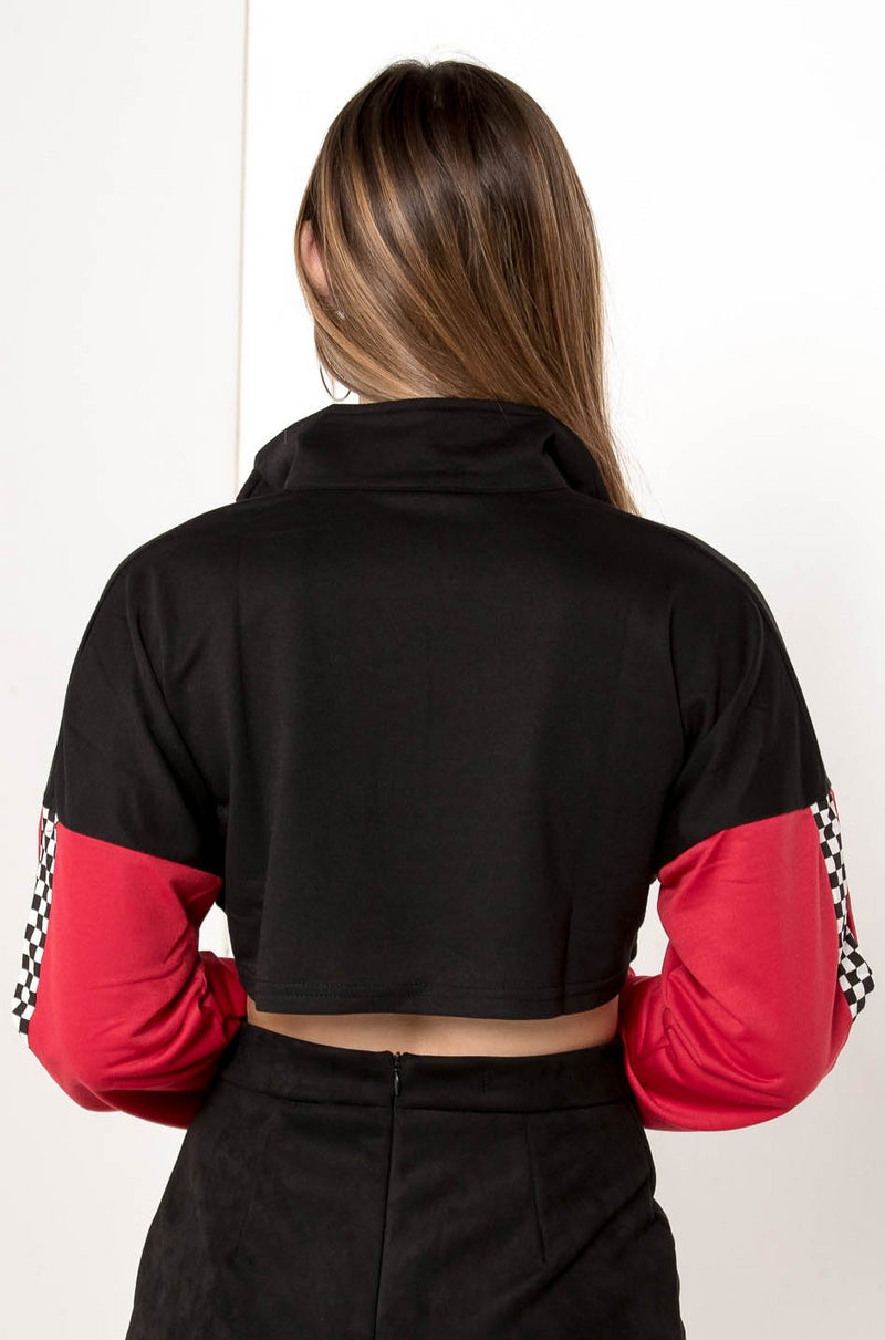 DARK REVENGE HIGH COLLAR CROPPED JACKET - CHICKABERRY BOUTIQUE Australia Womens