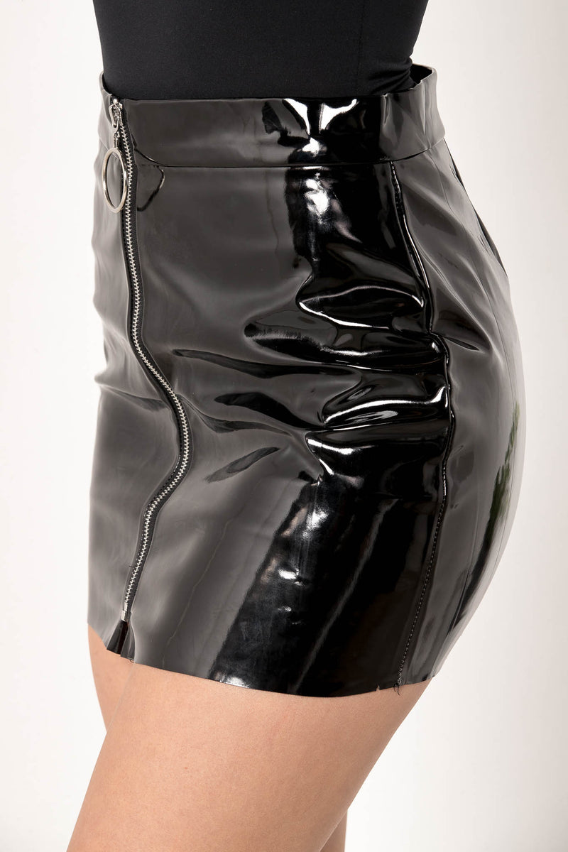 WHIP IT ZIPPER LEATHER MINI SKIRT - CHICKABERRY BOUTIQUE Australia Womens