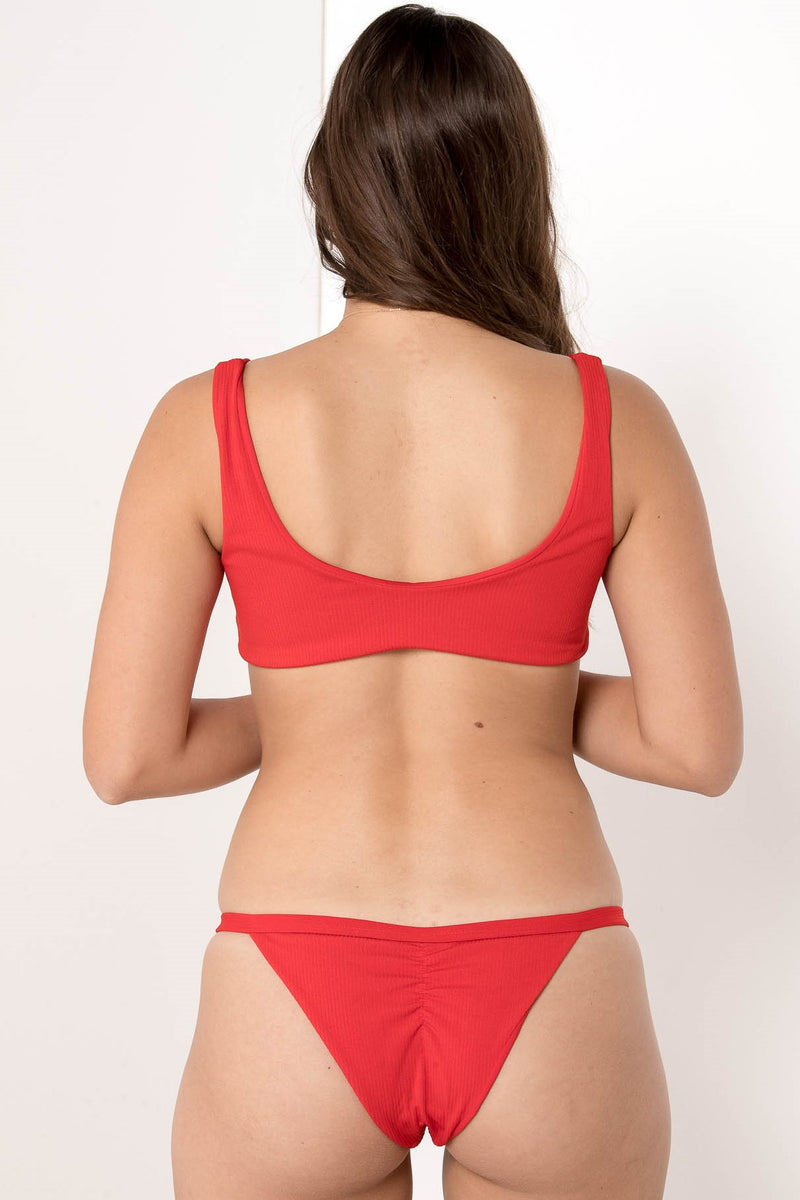 HIGH TIDE POPPER RIBBED BIKINI BOTTOM CHERRY RED - CHICKABERRY BOUTIQUE Australia Womens