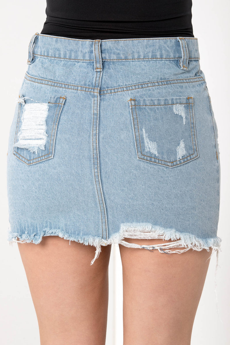 KILLING IT RIPPED DENIM MINI SKIRT - CHICKABERRY BOUTIQUE Australia Womens