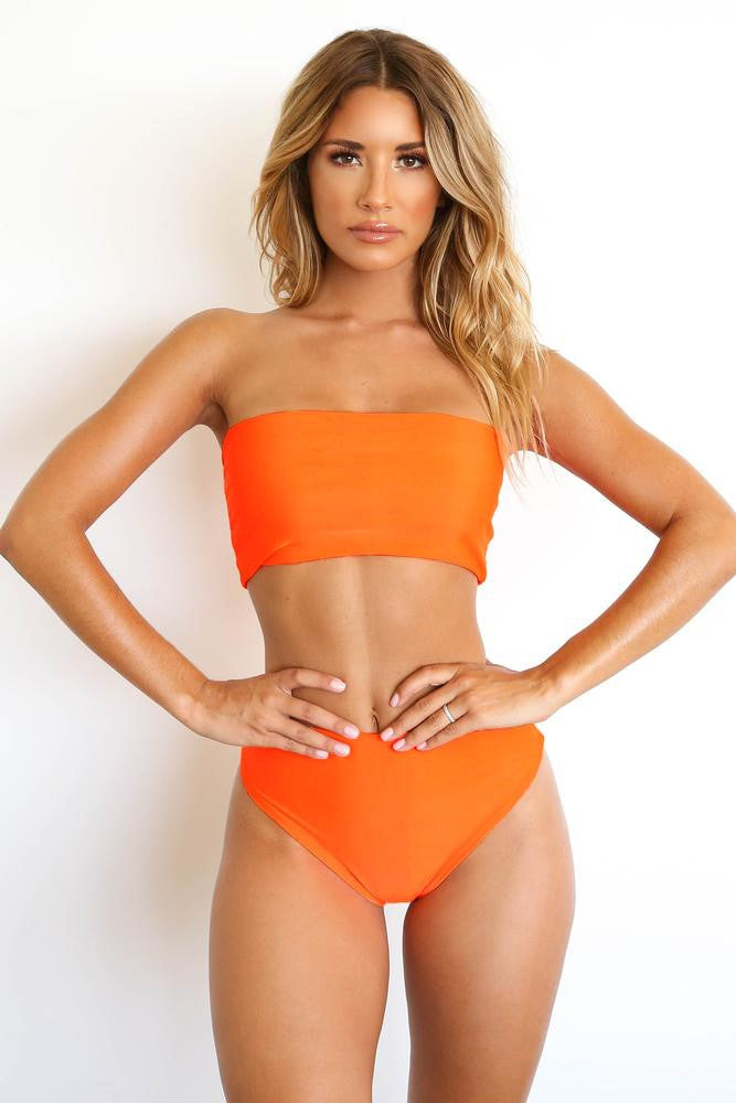 MELISANDRE BANDEAU BIKINI TOP ORANGE - CHICKABERRY BOUTIQUE Australia Womens