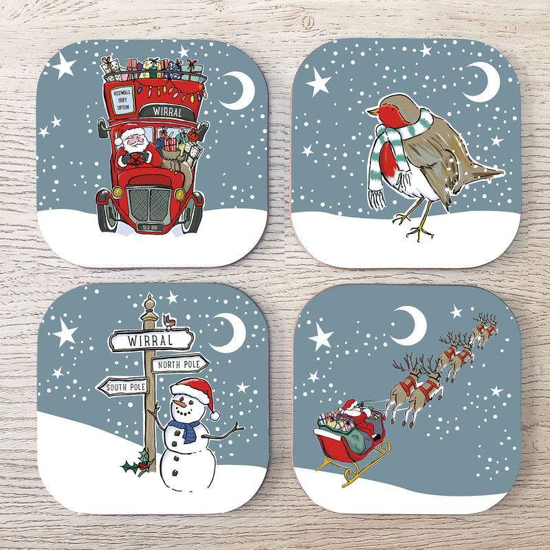 Wirral Christmas Coasters (Set of 4)