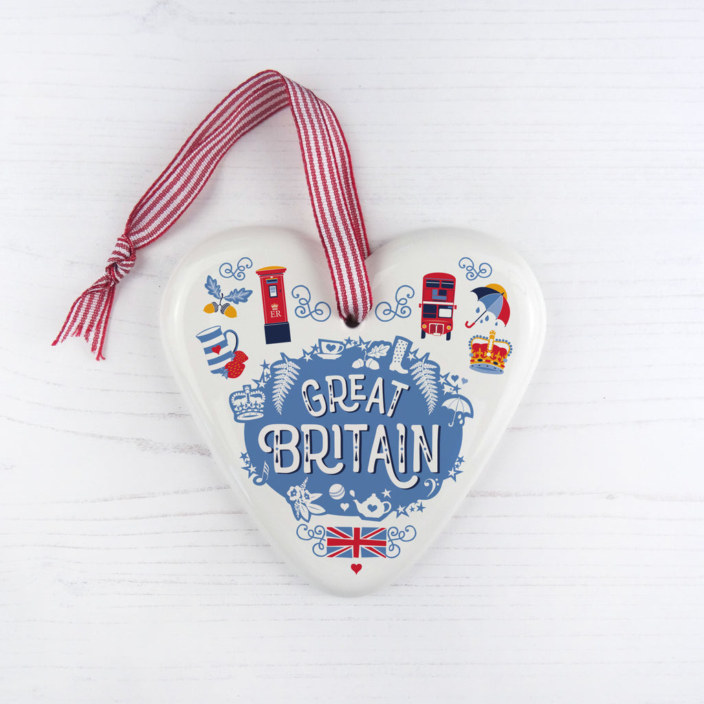 Great Britain China Heart Hanging Decoration