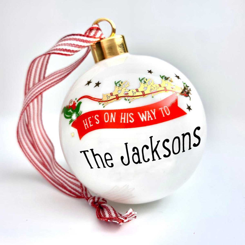 He's On His Way Personalised Christmas Bauble