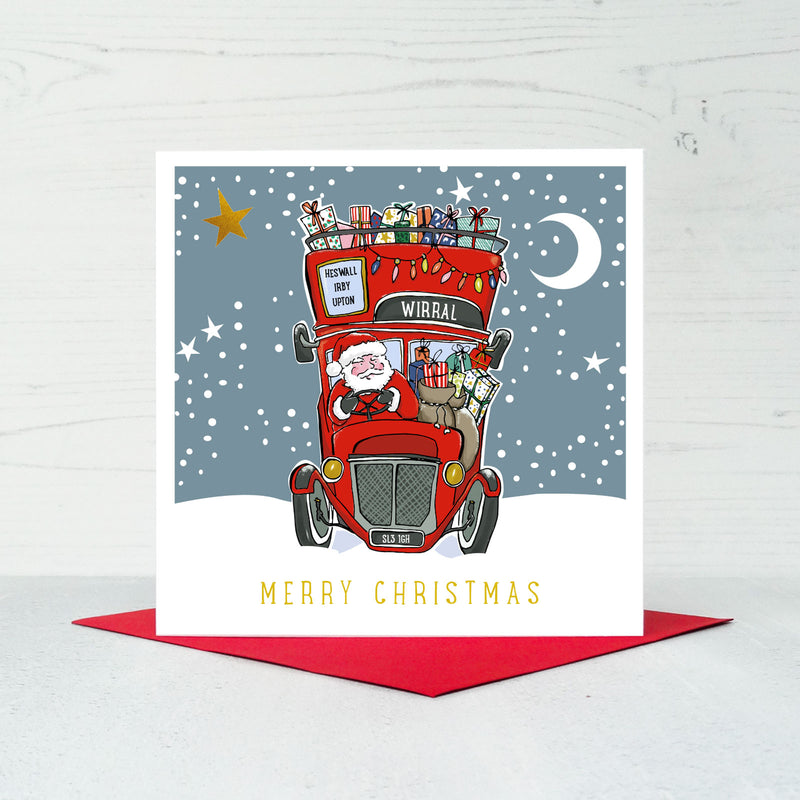 Wirral Santa Bus Christmas Card
