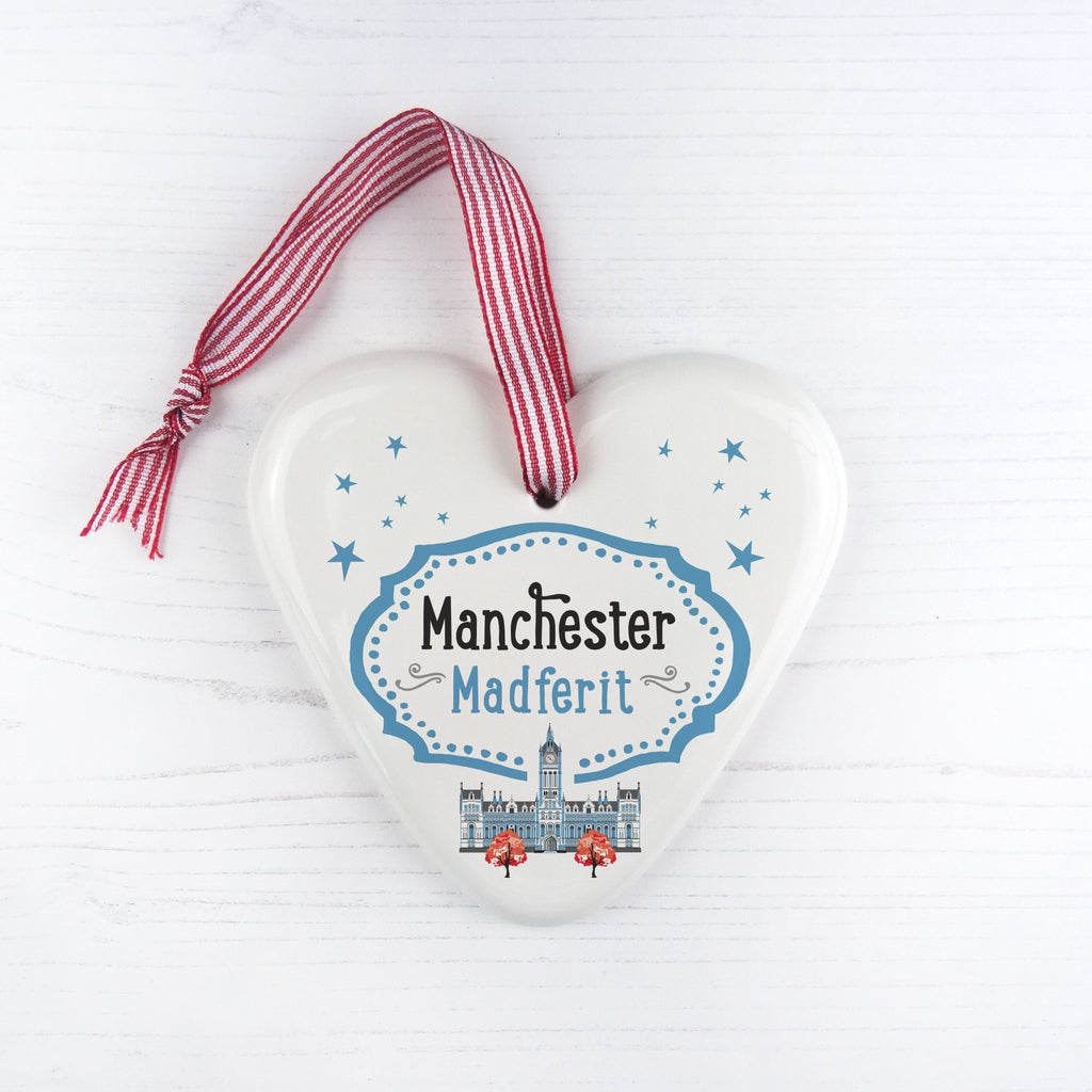 Manchester China Heart Hanging Decoration