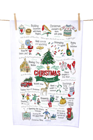 It's Christmas Time in Wirral Tea Towel
