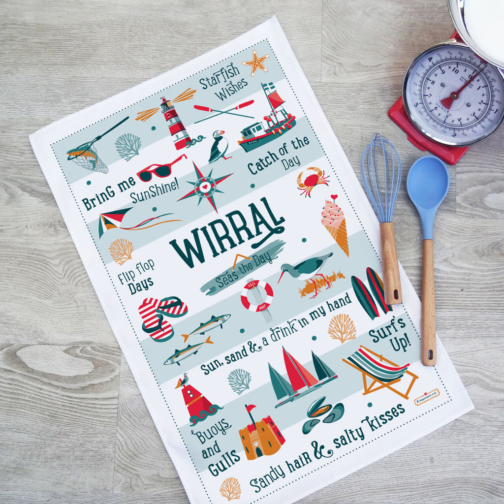 Wirral Seas the Day Tea Towel