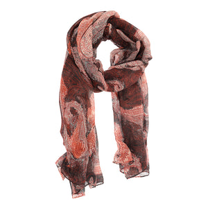 Joy Susan Red Boho Paisley Scarf