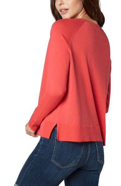 Liverpool Raglan Sweater With Side Slits Bright Coral