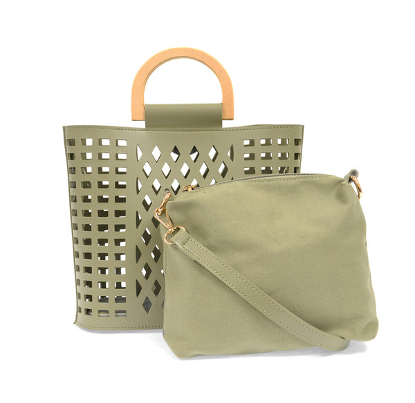 Joy Susan Cut Out Tote, Sage