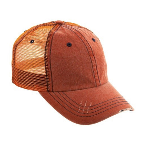 Distressed Ball Cap, Orange