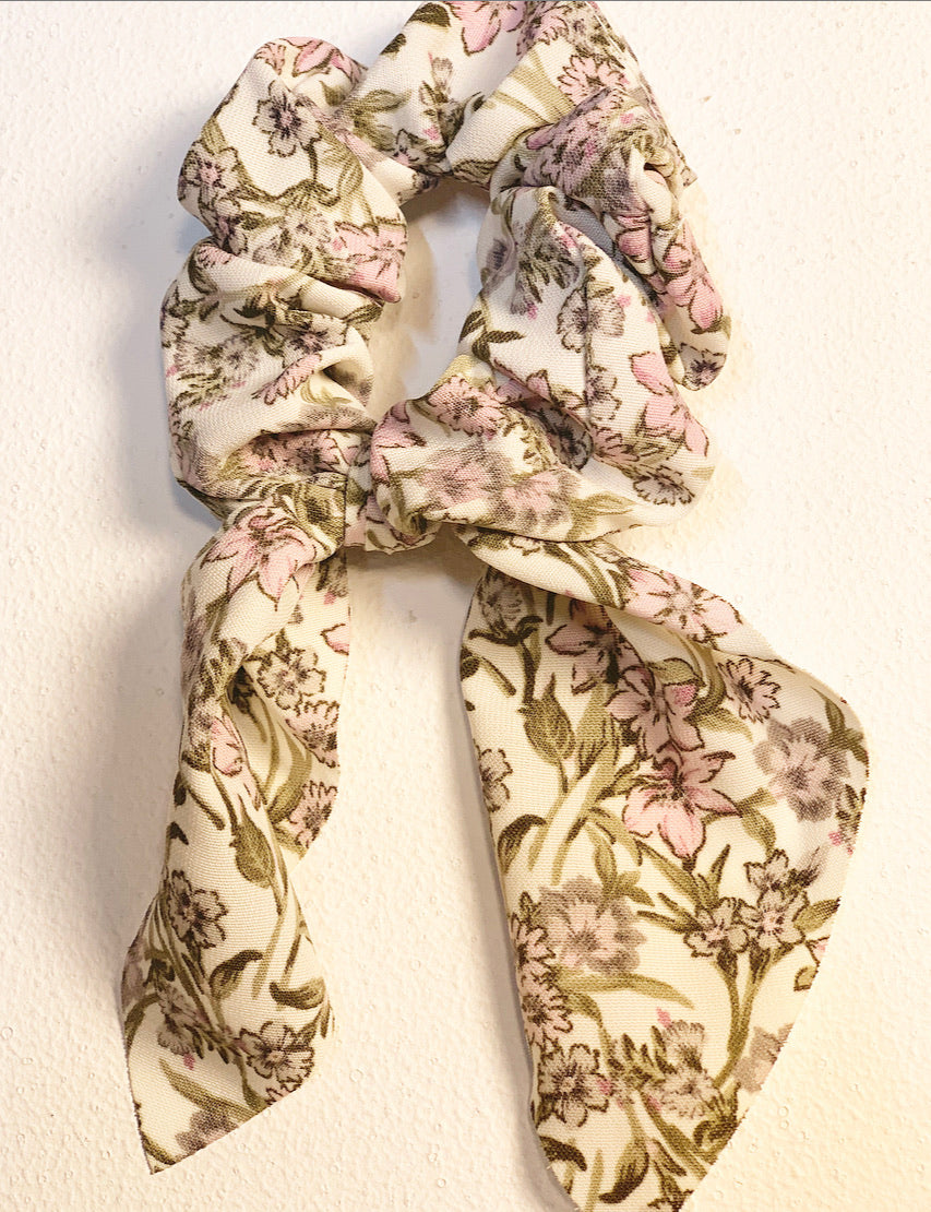 Floral Bow Hair Scrunchie