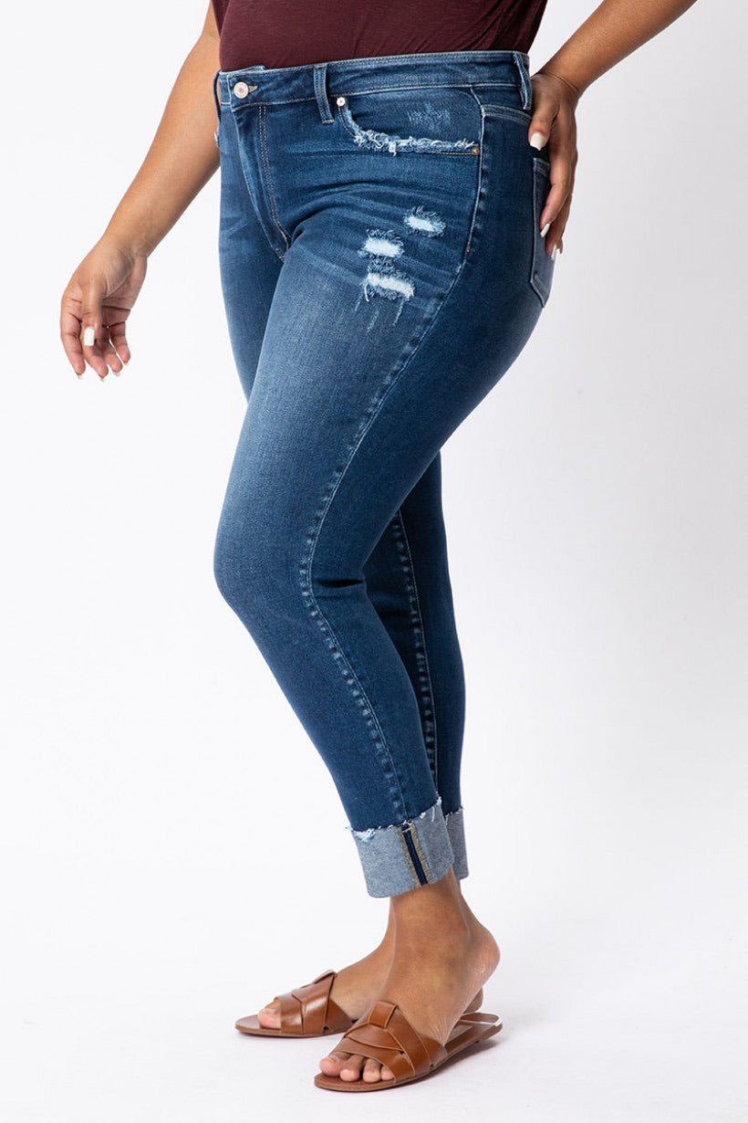 Distressed High Rise Ankle Skinny KanCan Jeans, Plus