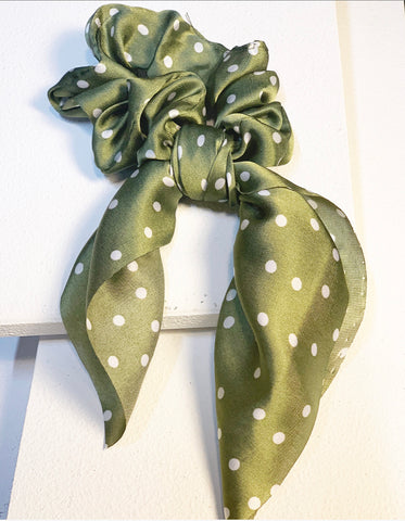 Green Polka Dot Bow Scrunchie